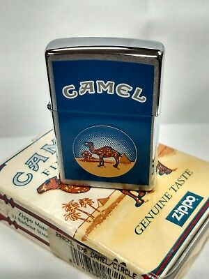 New 1998 Camel in Circle Brushed Chrome Zippo Lighter Sealed J-XIV