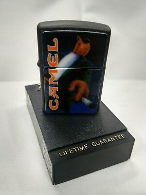 New 1996 Big Joe Camel Zippo Lighter Black Matte Technographic Chip G-XII