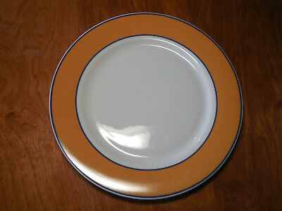 "Noble Excellence STRATUS Set of 4 Dinner Plates 10 3/4"" Yellow Rim Dk Blue"