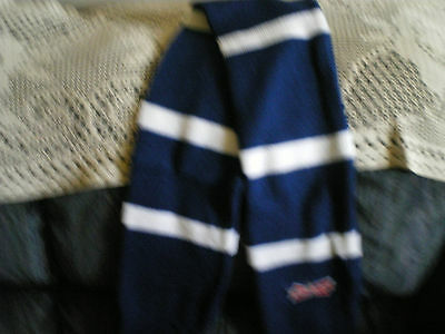 budweiser hockey scarf blue and white 4 ft long open ended hand warmer 6 in wide