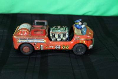 Vintage Fire Truck Friction Toy Car Collectible Tin Push Antique