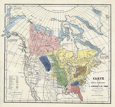 1836 Map Indian Tribes of North America Antiquarian Society Wall Poster Native