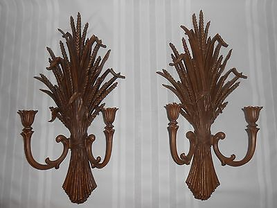Vintage Pair Homco #4122 Double Candelabra Wheat Sheaf Candle Wall Sconces