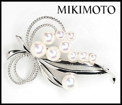 MIKIMOTO Akoya Pearl Brooch K18WG 10P Pearls 4.6 mm - 7.4 mm Authentic carved