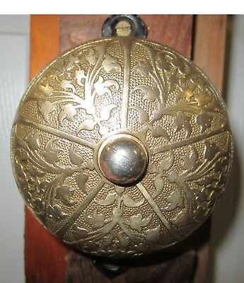 Antique Victorian Ornate Cast Iron and Brass Manual Doorbell