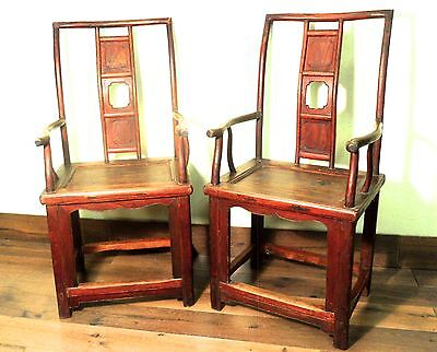 Antique Chinese Ming High Back Arm Chairs (5697) (pair), Circa 1800-1849