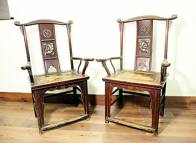 Antique Chinese High Back Arm Chairs (5333), Circa 1800-1849
