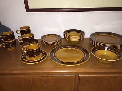 1970's Vintage Kiln Craft 6 Place Full Dinner Set ~ Retro Staffordshire England
