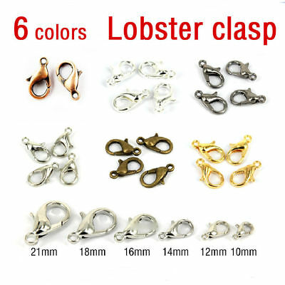 100x Metal Lobster Claw Clasps Bronze Gold Silver Necklace Making 10/12/14/16 MM