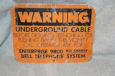 OLD BELL TELEPHONE SYSTEM HEAVY METAL WARNING SIGN  call 9800