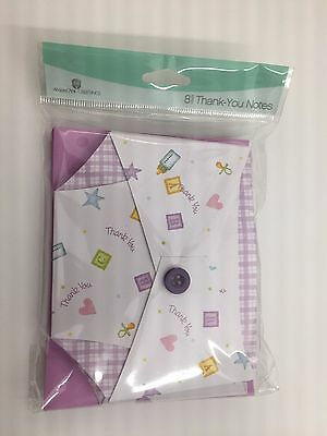 American Greetings Thank You Notes Cards Baby Shower purple diapers envelopes- 8