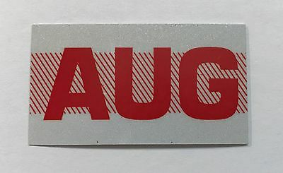 August, Month California DMV License Plate Registration Sticker, Red, Tag, YOM