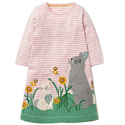 US SHIPPING Girls Clothes Long Sleeves Baby Kid Animal Appliques Cottton Dresses