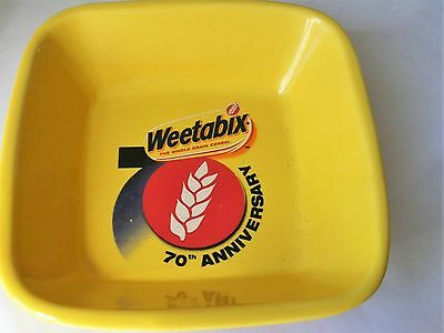 Weetabix 70th Anniversary Cereal Bowl Square Ceramic Yellow  Advertising