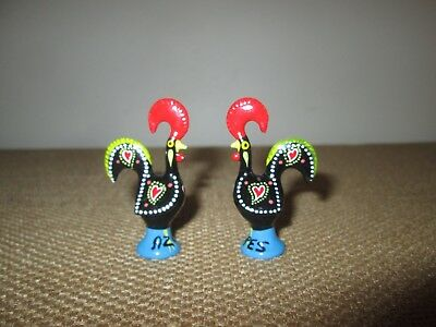 """Pair of 2 Small 2"""" Tall Metal Hand-Painted Good Luck PORTUGUESE ROOSTERS"""