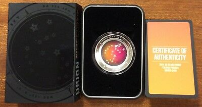 2014 $5 southern sky Orion domed shape silver proof coloured coin RAM