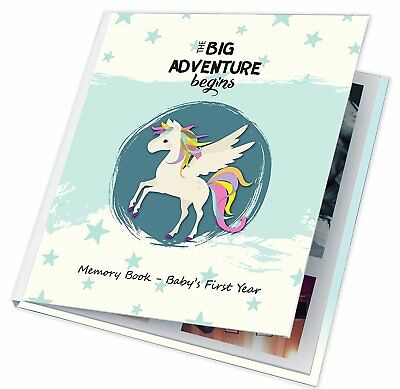 Baby Memory Book First Year Boy Girl Pictures Photos Album Christmas Gift Gray