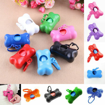 Fashion Dog Pet Pick-Up Waste Poo Bag Holder Roll Poop Refil Bag Bone Shape FY