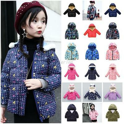 Baby Boy Girls Hooded Coat Jacket Toddler Kids Plush Hoodies Outfit Clothes 1-6Y