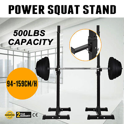 Power Squat Stand Rack Barbell W/Adjustable Base Pull Chin Up Bar  500LBS