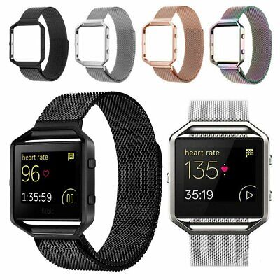 Milanese Magnetic Wrist Band Strap Bracelet + Metal Frame For Fitbit Blaze Watch
