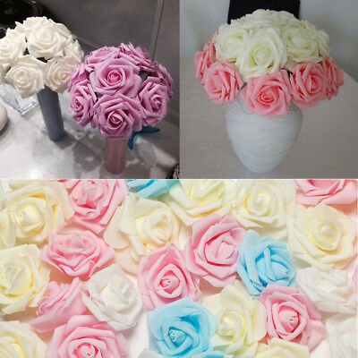 50/100 Foam Rose Heads Artificial Flowers Wedding Bride Hand Flower Party Décor