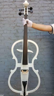 New 4/4 Electric cello silent Solid Wood Powerful Sound White Color New #ECL01