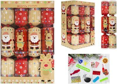 12 Family Santa & Reindeer Christmas Crackers