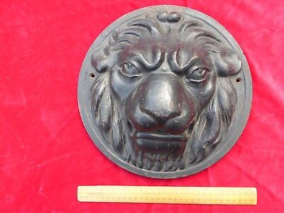 "Antique Cast Iron Lions Head Plaque 12"" 6 kilos. Possibly From Bank/Grand House"