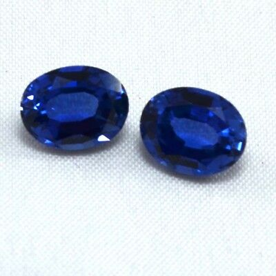 N0672 AAA Rated Blue Lab Created Sapphire Oval Loose Gemstone 9x7mm 5.3cts 2pcs