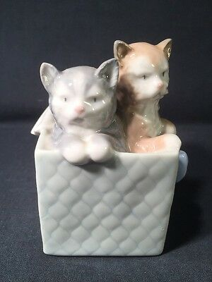 NAO By Lladro Two Cats/Kittens In A Box Basket 'A Purr-fect Gift' (ref W507)