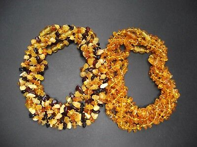 Lot -10 Genuine Baltic Amber Baby Necklace Mixed Color 32.0 - 33.0 cm