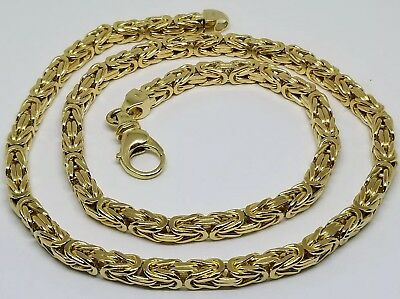 "106.5 GRAMS 14K 5MM Solid Yellow Gold 22"" Italian Byzantine Necklace"