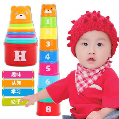 9pcs Plastic Baby Kids Educational Toys Figures Letters Folding Cup Pagoda US