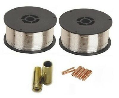 2 x 0.9Kg 0.8mm Gasless (Flux Cored) Mig Welding Wire (MB14/M5 Tips and Shrouds)