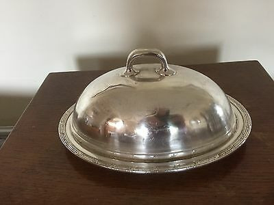 Union Pacific Silver Plated Handled Dome Cover And Platter