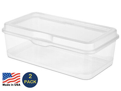 Sterilite Large Flip-Top Box Clear Storage Container #1805 - (2 PACK)