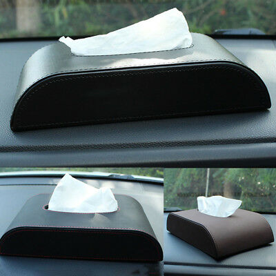 Home Car Decor Accessories Organizer Leather Tissue Box Cover Papers Bag Holder