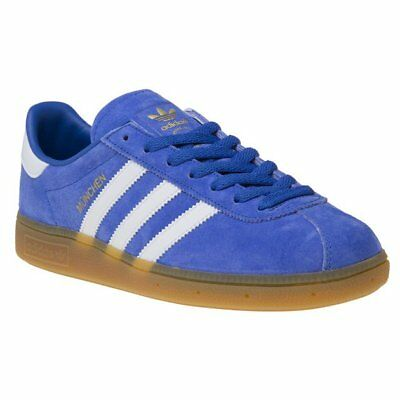 New Mens adidas Blue Munchen Suede Trainers Retro Lace Up
