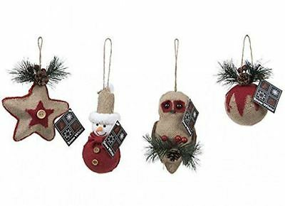New Festive Christmas Xmas Jute Unique Fabric Tree Hanging Decoration Charachter