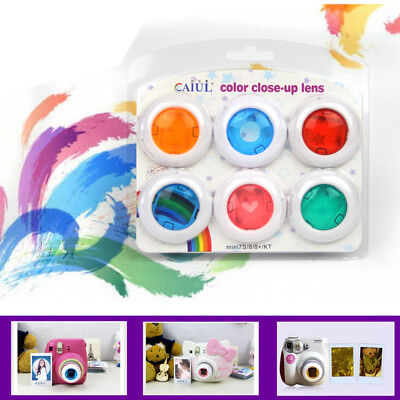 6Pcs Colour Filter Close-Up Lens For Fuji Instax Mini 7s 8 9 Film Instant Camera