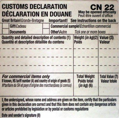 250 Self Adhesive Customs Declaration Forms Label Cn22 Royal Mail Post Office