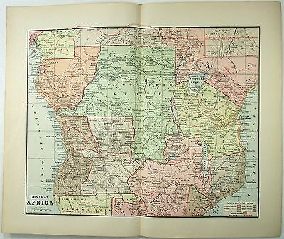 Original 1891 Map of The Partition of Central Africa by Fisk & Co.