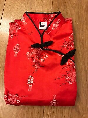 Red Silky Chinese Cheongsam Long Dress - Size 14