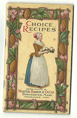 1912 Choice Recipes Walter Baker Dorchester MA Chocolate Cocoa Candy Janet Hill