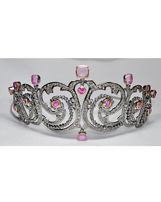 Princess Vintage Inspired 8.27Ct. Rose Cut Diamond .925 Silver Antique Tiara