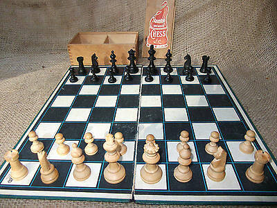 Vintage Staunton Boxwood Chess Set, Boxed with Board, Turned