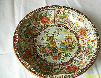 Vintage Daher Decorated ware 1971 10 inch diameter tin bowl - made in England