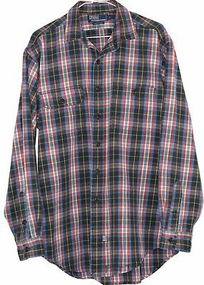 Vintage Plaid Flannel Polo Ralph Lauren 100% Cotton Heavy Duty Shirt Large L Vtg