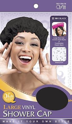 Large vinyl shower cap - black